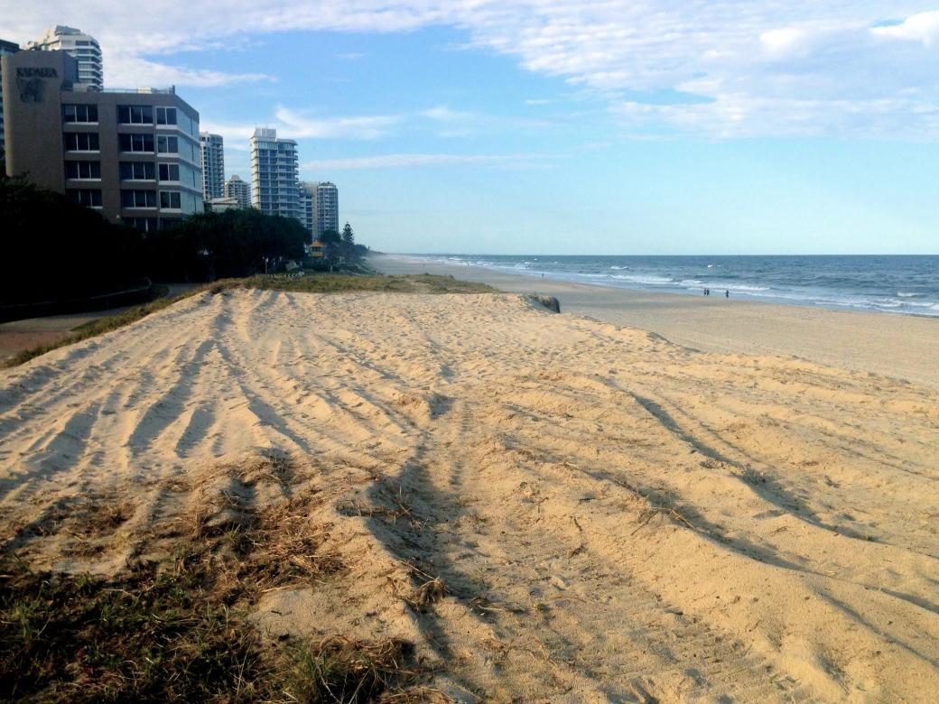 Destroyed dune near Cable Street, Main Beach