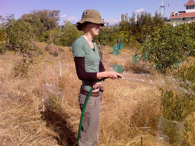 Me back in 2006. This area were I am standing is now beautiful rainforest. I used to water the 1000s of plants every Wednesday for a few hours during the drought.