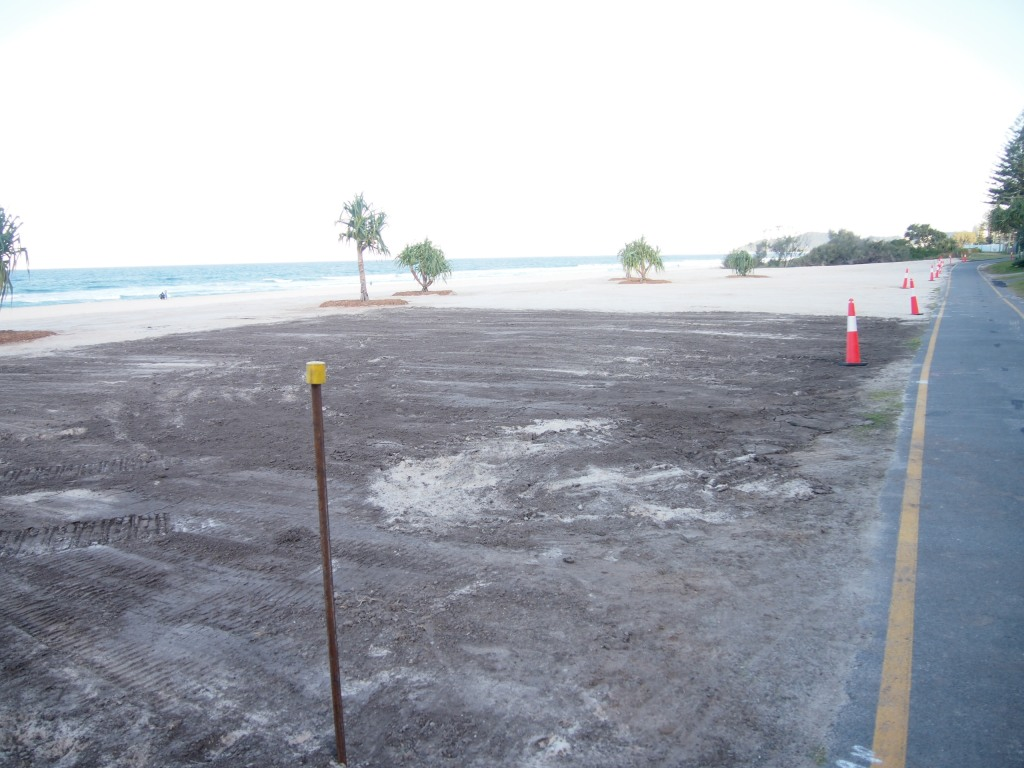 Looking south at the end of the eastment at 27th Ave. 30sqm of turf about to be laid.